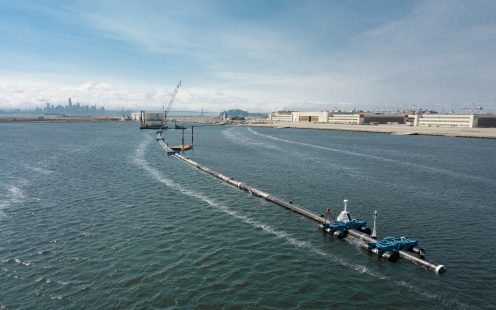 Ocean Cleanup Pipelife stabilizers assembly and fully launched system